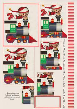 Santas Super Mail Train - Papertole Exclusive Topper Sheet . -Jacksons mail Order