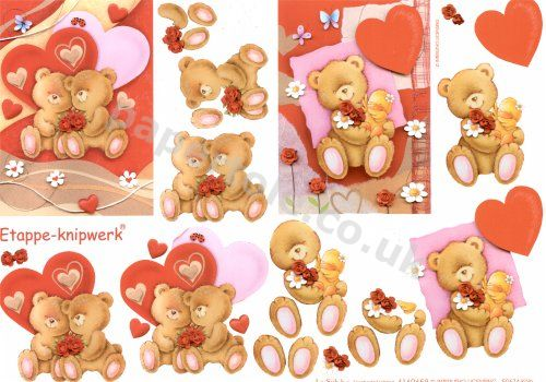Rose Bears  **MAKES 2 CARDS*** 3D Easymake Easy to follow instructions