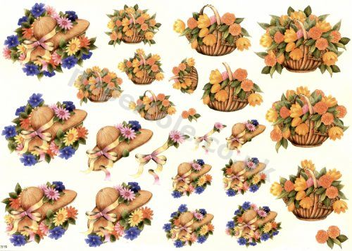 Floral Hats & Baskets     E519 3D Easymake Easy to follow instructions