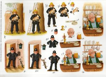 Policeman, Fireman, Landlord - A4 Step by Step . *