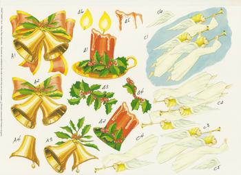 Christmas Bells, Candles, Angels - A4 Step by Step . *