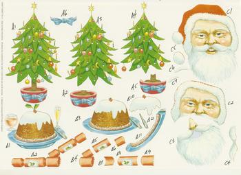 Christmas Tree, Santa, Pudding & Crackers - A4 Step by Step *