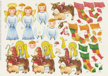 Christmas Theme - Angel, Stocking and Nativity Step by Step Sheet -  No 76 . *