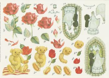 Wedding Teddy Bear and Red Rose - Step by Step - No36 . *