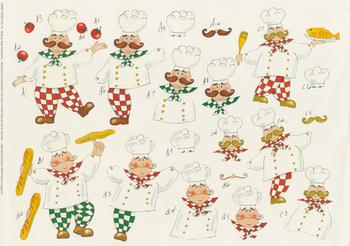 Chef with Fish Tomato and Bread CRAFT SHEET NO 79 by Michael Lockwood . -Jacksons mail Order