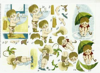 A4 Craft Sheet No 33 - Cute Bathroom Boy by Michael Lockwood .