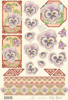 Mary Rahder - A4 120g Quality Multi Craft Sheet -Purple Floral Sheet  with Border 2563 t Mary Rahder