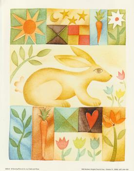 5053-8 Large Rabbit Topper - by Challis & Roos with Carrot, Sun & Flower Jacksons