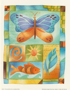 5049-8 Large Butterfly Topper by Challis & Roos with Fish, Sun and Leaves Jacksons