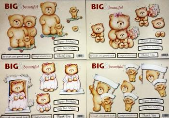 DIE CUT TEDDY PACK - 590 582 587 584 with Happy Birthday Thank You Best Wishes Congratulations and Good Luck sentiments included .