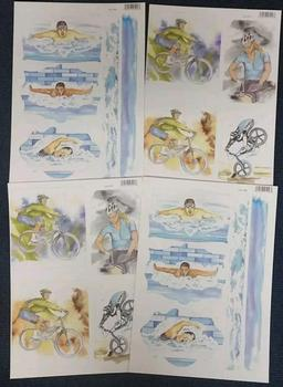 4 x Teenage Sports Hobby - Cyclist / Mountain Biker & Swimmer Die Cut Sheets 80 75 . -