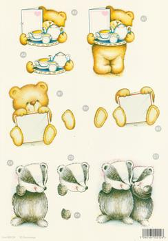 3 projects - Die Cut - Cup a Tea Bear - Bear with a letter - Badger - 128 .