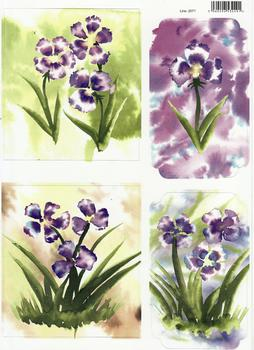 A4 Spring Flowers 1 Water Colour Diecut Sheet 2071 . *