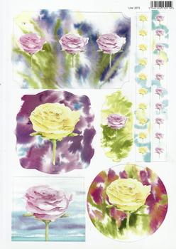 Painted Water Colour Roses Yellow & Pink with Borders 2073 . *