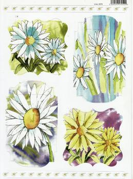 Yellow & White Daisy Die-Cut Decoupage Sheet 2074 . *