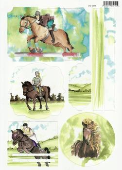 Sports Themed - Horse Riding  / Equestrian / Show Jumping  - Painted in Water Colours - Topper - . -