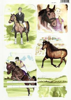 A4 Show Jumping, Pony, Horse rider Diecut Sheet - 2077 . *