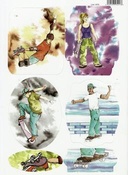 Sports Themed - Skateboarder Male / Female Painted in Water Colours - 2079 . -