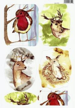 A4 Robin & Reindeer Diecut Sheet 2151 . *