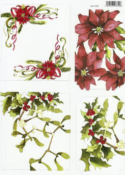 A4 Mistletoe, Poinsetta & Holly Diecut Sheet 2152 . *