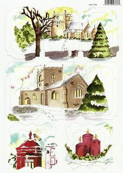 Scenic Village Church with Snow Painted in Water Colours - 2155 -