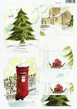 A4 Christmas Tree, Postbox and Church Diecut Sheet 2157 . *