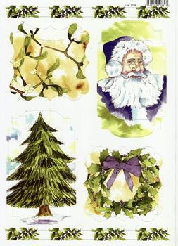 A4 Christmas - Santa Tree and Mistletoe Die Cut - 2158 . *