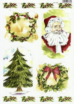 A4 Christmas Tree, Santa and Wreath Diecut Sheet 2159 . *
