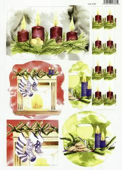 Christmas Stocking by Candle Light with White Wine in Painted Water Colours - 2160 . -