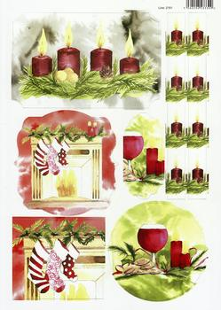 A4 Christmas Candles, Stockings and Wine - Diecut Sheet - 2161 . *