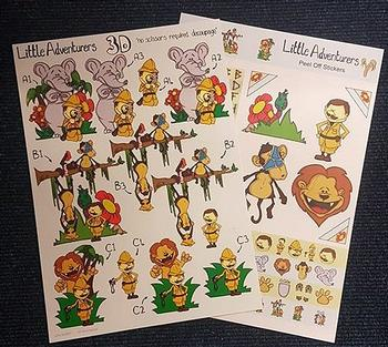 A4 Jungle Themed Diecut & Sticker Pack - 2 Sheets . *