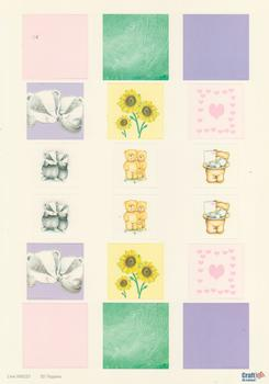 A4 Die cut - 3D Toppers - Badger Teddy Hearts and Sunflowers - Backing in Pink Purple and Green - 223 .