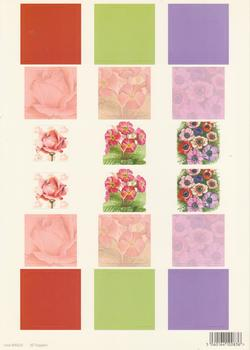 A4 Die cut - 3D Toppers - Flowers with Red Pink and Purple Backgrounds - 225 .