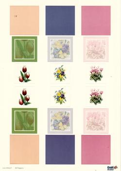 A4 Die cut - 3D Toppers - Spring Flowers with Peach, Purple & Pink Backgrounds - 227 . *
