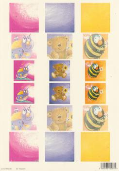 A4 Die cut - 3D Toppers - Buzzy Bee Teddy Bear & Caterpillar - 236 .
