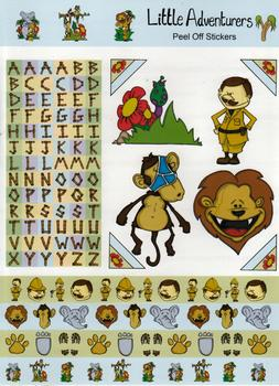 A4 Jungle Animals -Monkey Lion and Elephant Themed Sheet with The Alphabet - 458 . *