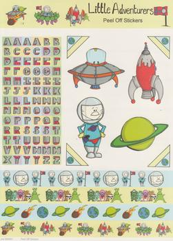 A4 Alphabet  Alien  & Spaceship Stickers - PEEL OFF STICKERS - 461 .