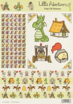 A4 Dragon Knight and Alphabet Themed Sticker Sheet - 468 .