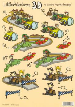 A4 Pirate - Racing Track - Dragon and Spaceship - 3 Project Die Cut - 470 .