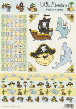 A4 Pirate Shark and Dolphin Themed Sheet with The Alphabet  - 474 .
