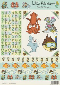 A4 Die Cut  Shark Octopus & Diver themed stickers. .