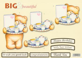 Teddy Bear with a Tray of Tea - Big and Beautiful - Happy Birthday / Congratulations / Best Wishes / Good Luck / Thank You - 579 .