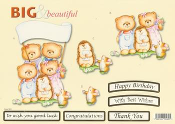 Family of Teddy Bears with Hedgehog - Big and Beautiful - Happy Birthday / Congratulations / Best Wishes / Good Luck / Thank You - 581 .