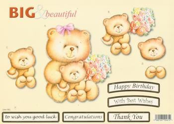 Mother Teddy Bear with Baby Bear and Flowers  - Big and Beautiful - Happy Birthday / Congratulations / Best Wishes / Good Luck / Thank You - 582 .