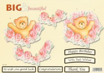 Teddy with Roses - Big and Beautiful - Happy Birthday / Congratulations / Best Wishes / Good Luck / Thank You  - 583 .
