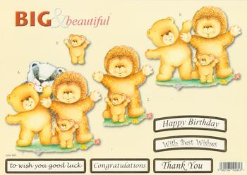 Teddy Bear Family with Badger - Big and Beautiful - Happy Birthday / Congratulations / Best Wishes / Good Luck / Thank You - 585 .