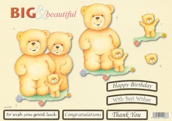 Teddy Bear Family - Mum Dad and Baby Bear - Big and Beautiful - Happy Birthday / Congratulations / Best Wishes / Good Luck / Thank You - 587 .
