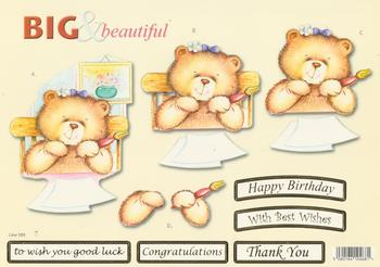 Painting Teddy Bear - Big and Beautiful - Happy Birthday / Congratulations / Best Wishes / Good Luck / Thank You - 589 .