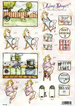 What Chores ? - Dirty Dishes, Wine & Sun Bathe - Themed Die Cut Sheet from Lazy Dayz - 595 *