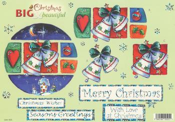 FREE MATCHING BACKING - Silver Foil  Christmas Bells with Sentiments  - Merry Christmas  Season Greeting Christmas Wishes With Love at Christmas - 633
